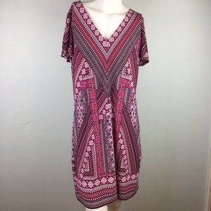 WHBM Patterned Short Sleeve Shift Dress Pink
